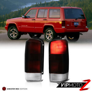 For 97 03 Jeep Cherokee Xj Deep Red Smoke Brake Signal Tail Light Pair Assembly