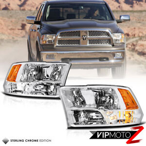 09 18 Dodge Ram Factory Quad Style Chrome Housing Clear Replacement Headlight