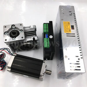 Nema23 Stepper Motor L76mm worm Gearbox Ratio 7 5 1 driver power Supply Kit