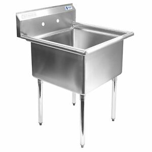 Gridmann 1 Compartment Stainless Steel Commercial Kitchen Prep Utility Sink