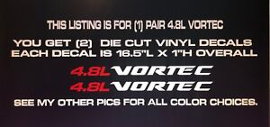 4 8l Vortec Die Cut Vinyl Decal Fits Chevy Gmc Window Hood Body Tailgate