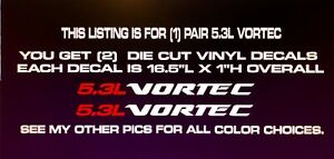 5 3l Vortec Die Cut Vinyl Decal Fits Chevy Gmc Window Hood Body Tailgate