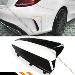For 15 18 Mercedes Benz W205 Amg 4dr Blk Snap On Rear Bumper Vent Canards Insert