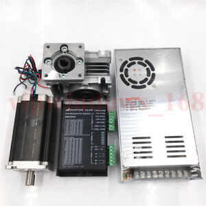 60nm Nema23 Stepper Motor L112mm 20 1 Worm Gearbox Driver Kit power Supply Cnc