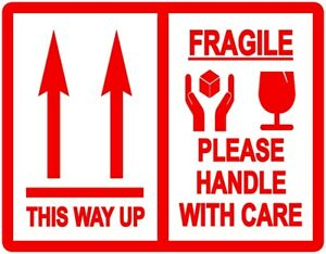 This Way Up Fragile Packing Stickers Labels 103 X 80mm