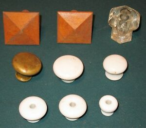 Vintage Lot Of 9 Drawer Pulls Knobs Assorted Size Material Glass Brass Wood
