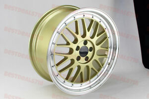 18 Gold Machine Face Lm Style Rims Wheels Fit Vw 5x100 Staggered 18x8 0 18x8 5