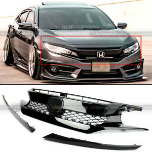 For 16 18 Civic 10th X Fk8 Type R Glossy Black Bumper Grille 2 Pieces Eyebrows