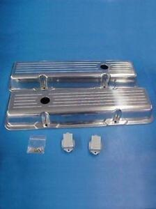 Small Block Chevy 305 350 Short Ball Milled Aluminum Valve Covers Sbc Street Rod