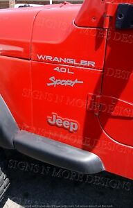 1997 2006 Jeep Wrangler Sport 4 0l Replacement Fender Decals Sticker Tj Full Set