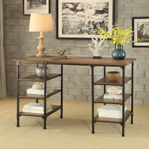 Industrial Home Office Writing Computer Desk Side Shelves Metal Distressed Ash