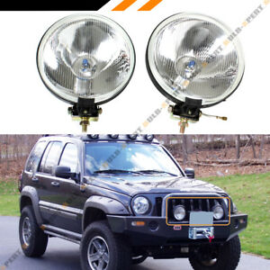 7 Round Clear Lens Chrome Offroad Bull Guard Fog Light W Switch Wiring Bulbs