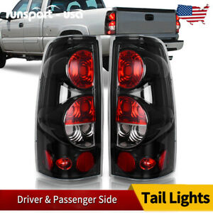 Tail Light For 99 06 Chevy Silverado 99 03 Gmc Sierra Black Clear Rear Lamp Pair