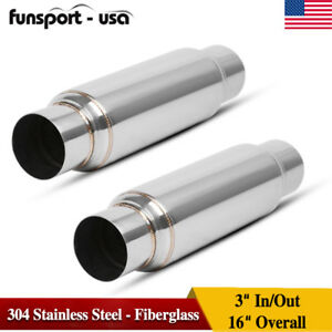 Pair 3 Inlet Outlet High Flow Performance Exhaust Mufflers Resonator Ss