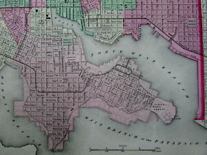 Baltimore City Plan Maryland 1864 Scarce Colton Old Hand Colored Detailed Map