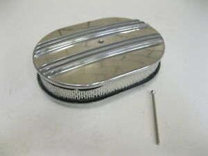 12 Oval Half Finned Polished Aluminum Air Cleaner Classic Nostalgia Ford Chevy