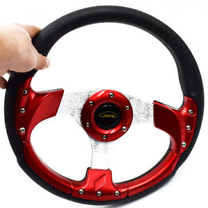 1pc 13 Universal Racing Car Steering Wheel Horn Button Leather Pvc Practical
