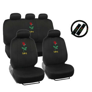 New Love Red Rose Flower Front Back Car Seat Cover Steering Wheel Cover Set