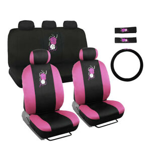 New Pink Hawaiian Floral Front Back Car Seat Cover Steering Wheel Cover Set