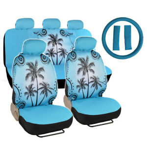 New Blue Tropical Palm Trees Car Seat Covers Wheel Cover Shoulder Pads Set
