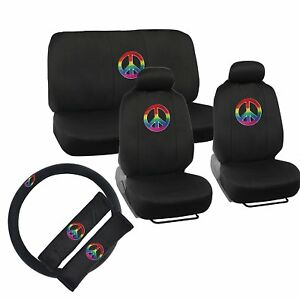New Rainbow Peace Sign Car Seat Covers Steering Wheel Cover Shoulder Pads Sets