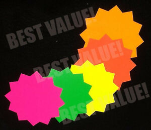 2 500pk 4 x 4 Fluorescent Star Burst Price Tags Neon Retail Sale Cards Signs