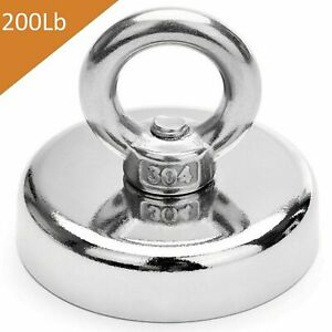 350 Lbs 2 36 Inch Fishing Magnet Super Strong Neodymium Round Thick Eye Bolt