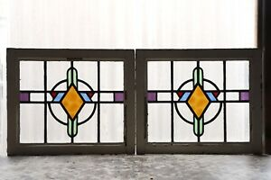 Pair Of Antique Stained Glass Windows Five Colors Stunning Art Deco 3066