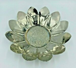 Vintage Candy Dish Bowl Silver Plated Lotus Flower Petal Floral Decorative