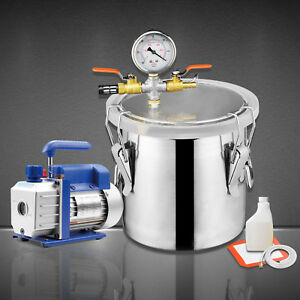 5 Gallon Vacuum Chamber 3 Cfm Single Stage Pump Degassing Silicone Kit
