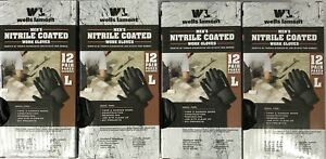 Lot Of 48 Pairs Wells Lamont Mens Nitrile Coated Work Gloves Sz Large Fast Ship