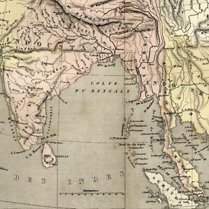 India Hindoostan Indo China Siam Laos Physical Geography 1855 Dufour Old Map