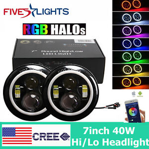 2x 7 40w Cree Led Headlights With Bluetooth Rgb Color Halo For Jeep Wrangler Jk
