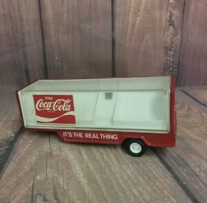 Vintage Red Pressed Steel Buddy L Coca Cola Toy Delivery Tractor Trailer