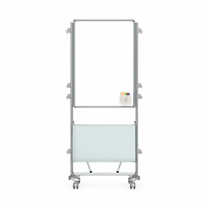 Ghent Nexus Easel Mobile 2 sided Porcelain Magnetic Whiteboard With Tablet