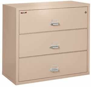 Fire Resistant File Cabinet 3 Drawer Lateral 44 Wide 1 Ea