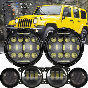 3 Pairs 7 Led Headlight signal Turn Light 4 Fog Lamp H4 To H3 For Jeep Jk
