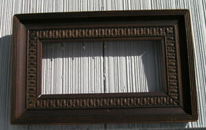 Antique Victorian Arts Crafts Mission Soot Finish Picture Frame 3 3 4 X 8