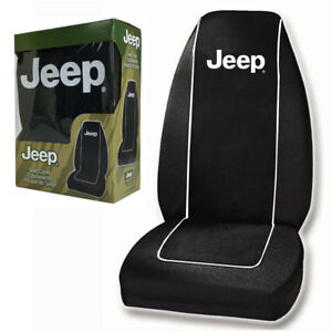 New Jeep White Logo Single Car Truck Front Bucket Black Seat Cover