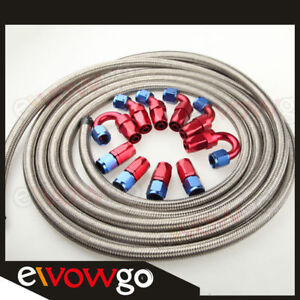 10an An 10 Stainless Steel Braided Oil Fuel Hose Line fitting Hose End Kit