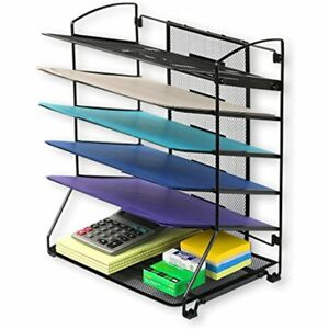 Simplehouseware 6 Trays Desktop Document Letter Organizer Black