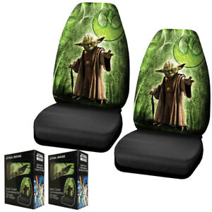 New Green Black Star Wars Yoda Front Pair High Back Car Seat Covers