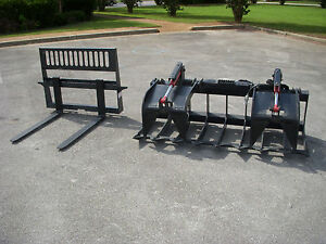 Bobcat Kubota Skid Steer 74 Hd Root Rake Grapple And 42 Pallet Forks ship 199