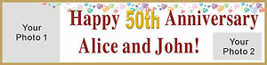 2ftx8ft Custom Personalized Happy 50th Anniversary Banner With 2 Of Your Photos