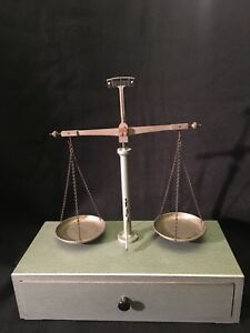 Vintage Precision Balance Arm Scale With Weights Ounce Grain Drawer Mount Brass
