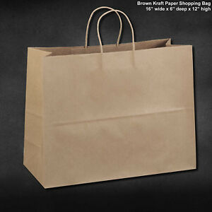 50pcs Paper Retail Shopping Bags With Rope Handles 16x6x12 Inch
