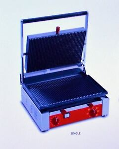 Astoria Heavy duty Single Panini Sandwich Grill Grooved Commercial Press 120v