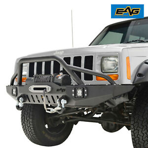 Eag Front Bumper With Led Lights Winch Plate For 84 01 Jeep Cherokee Xj