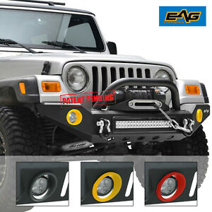 Eag 87 06 Jeep Wrangler Tj Yj Front Bumper With Colored Light Frames