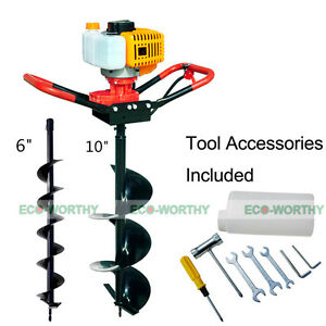 1pc 52cc Power Engine Post Hole Digger With 6 And 10 Auger Drill Bits
